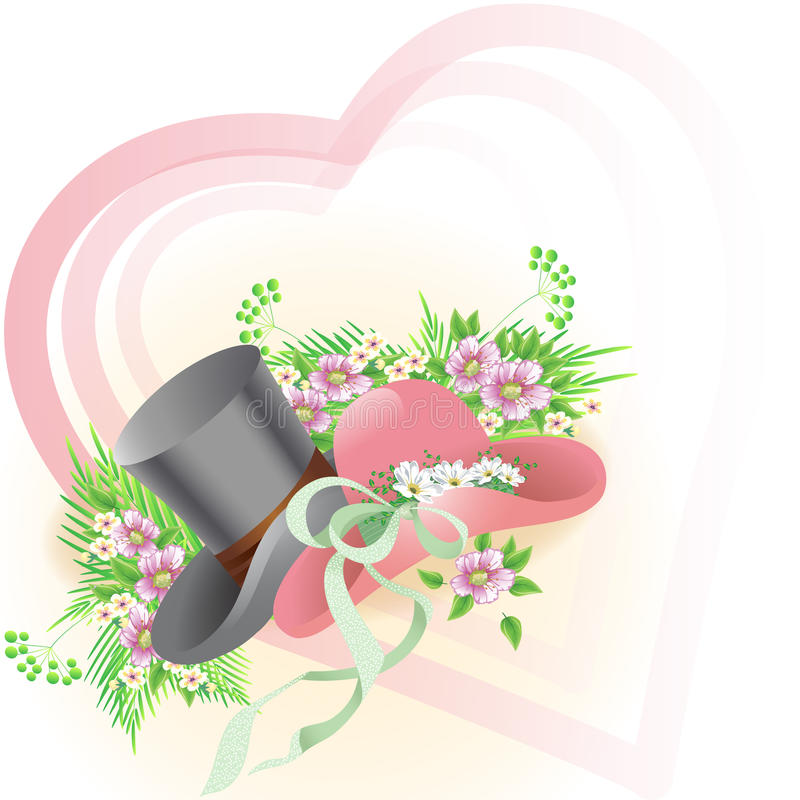 Card with hats royalty free illustration