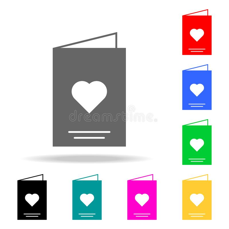 Card with heart icon. Elements of romance in multi colored icons. Premium quality graphic design icon. Simple icon for websites, w. Eb design, mobile app, info royalty free illustration