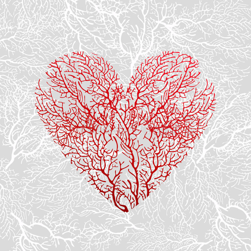 Card with heart of red coral. On a grey background royalty free illustration