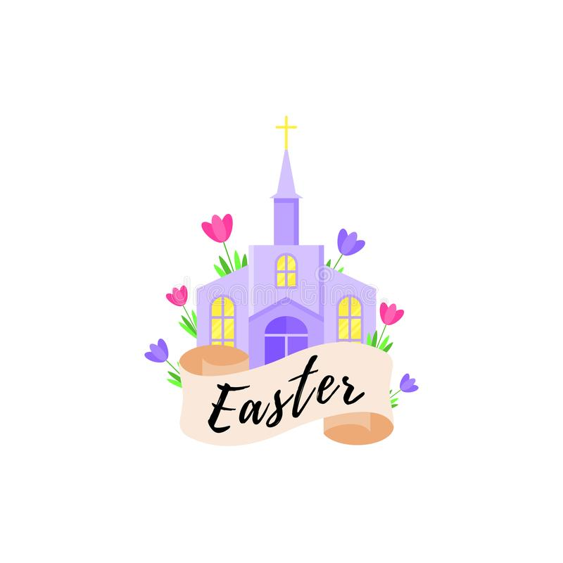 Card for the holiday of Easter with a church and flowers. Vector illustration. royalty free illustration