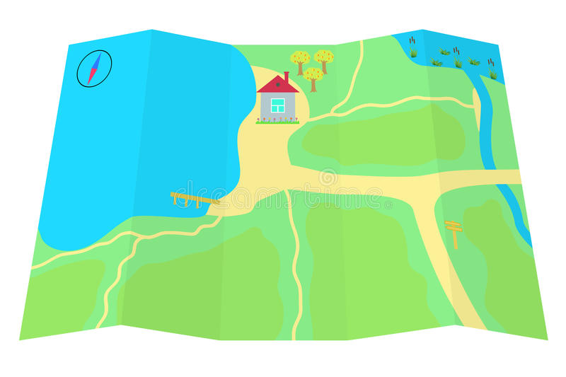 Card With A House At The Lake. Royalty Free Stock Photo