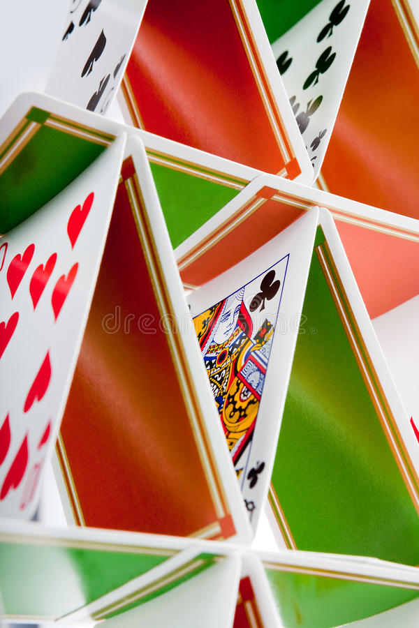 Card house structure royalty free stock photos