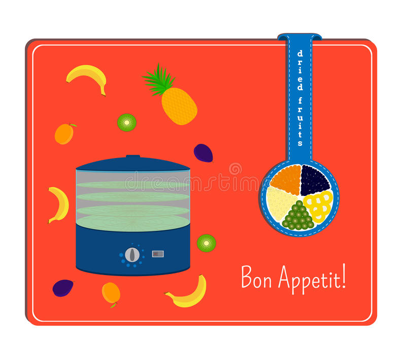 The card with the image of the dryers for fruits and the fruits Label with a plate with dried fruits.  royalty free illustration