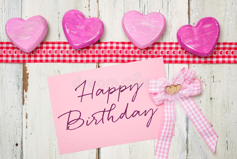 Card with the inscription Happy Birthday. Pink card with the inscription Happy Birthday stock image