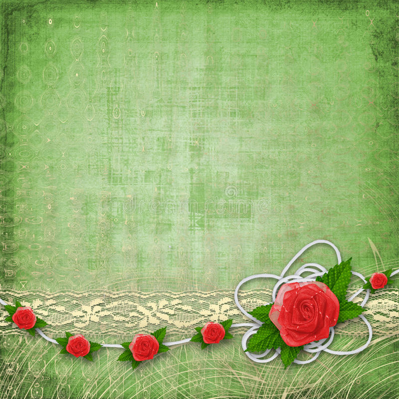 Download Card For Invitation With Buttonhole And Lace Stock Illustration - Image: 11763010