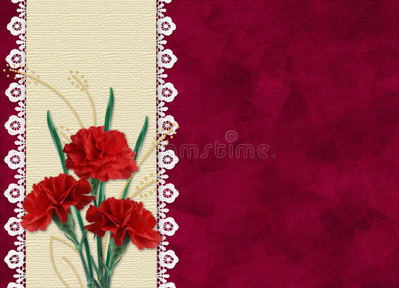 Card for invitation or congratulation with flower stock image