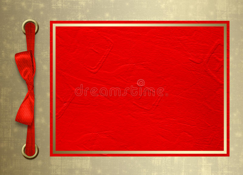 Card for invitation with gold frame and red bo stock illustration