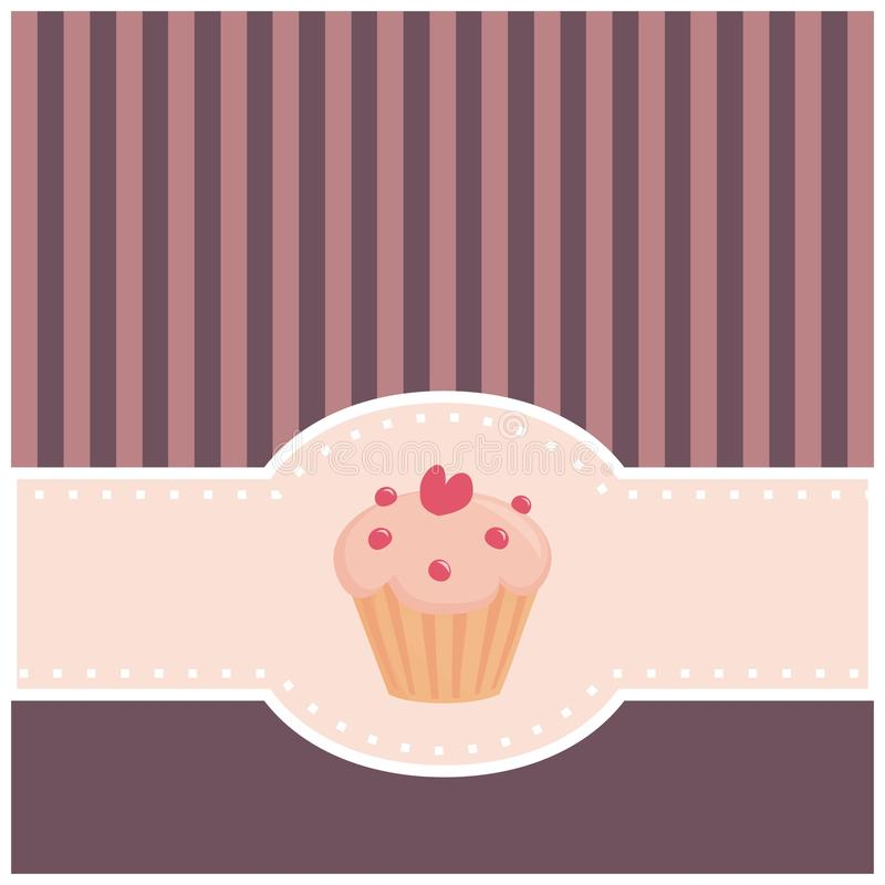Card Or Invitation With Muffin Cupcake And Heart Stock Image