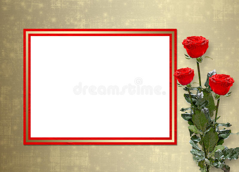 Card for invitation with red roses