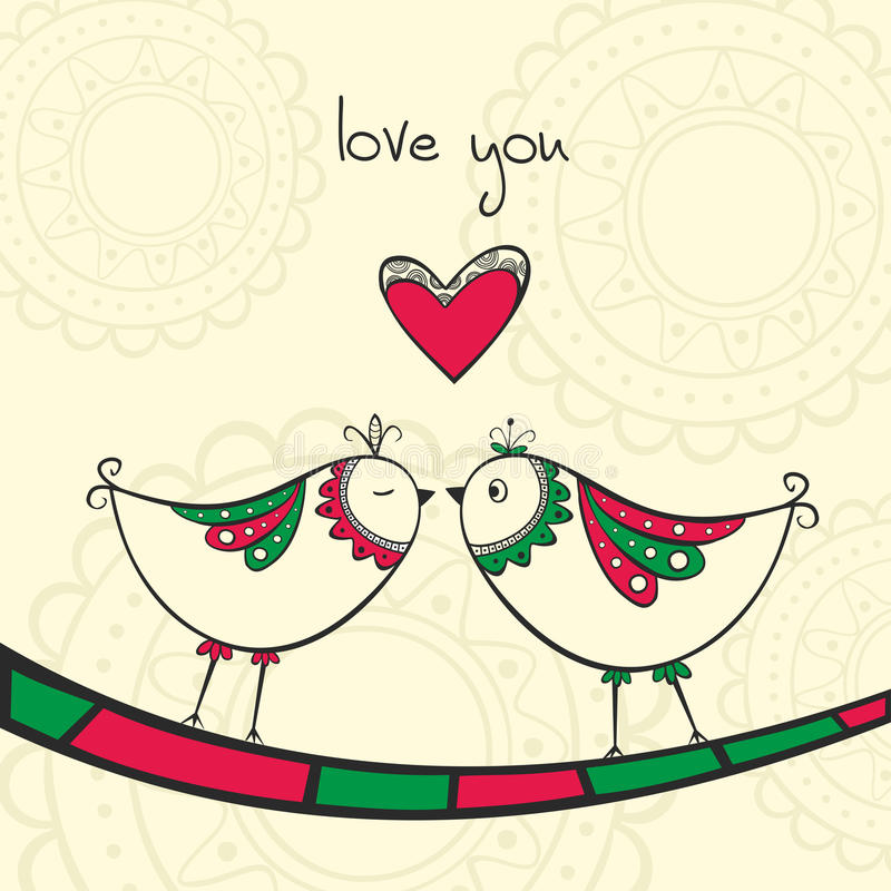 Card with kissing birds in love