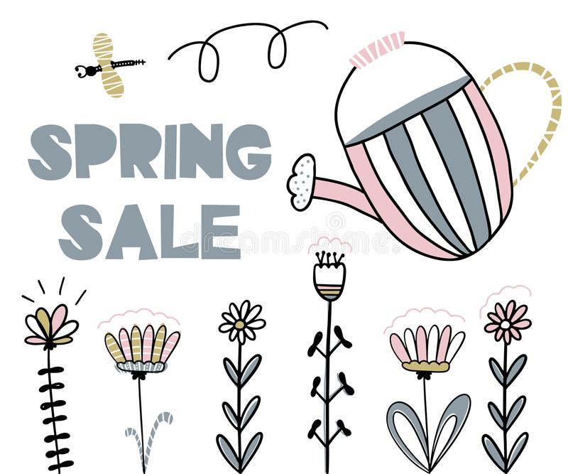 Card with lettering spring sale. Handwritten illustration royalty free illustration