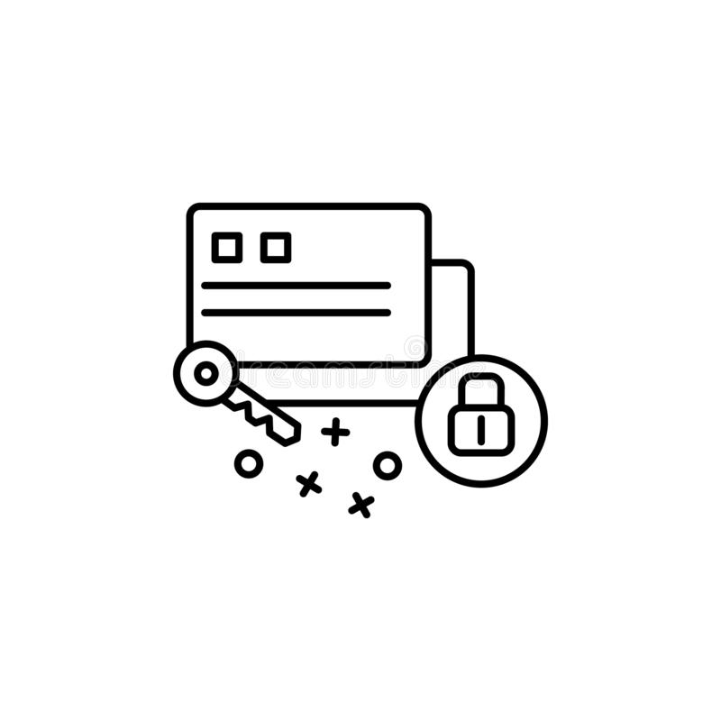 Card lock key security icon. Element of cyber security icon. Card, lock, key, security icon. Element of cyber security icon on white background vector illustration