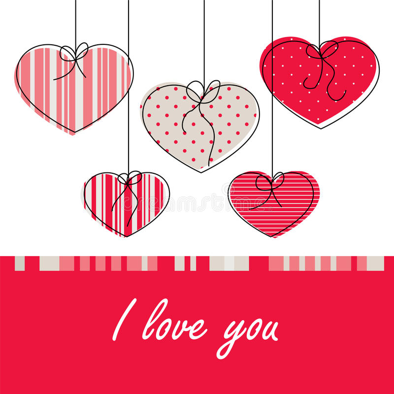 Card with love. Holiday card on Valentine's Day in a simple drawing style royalty free illustration