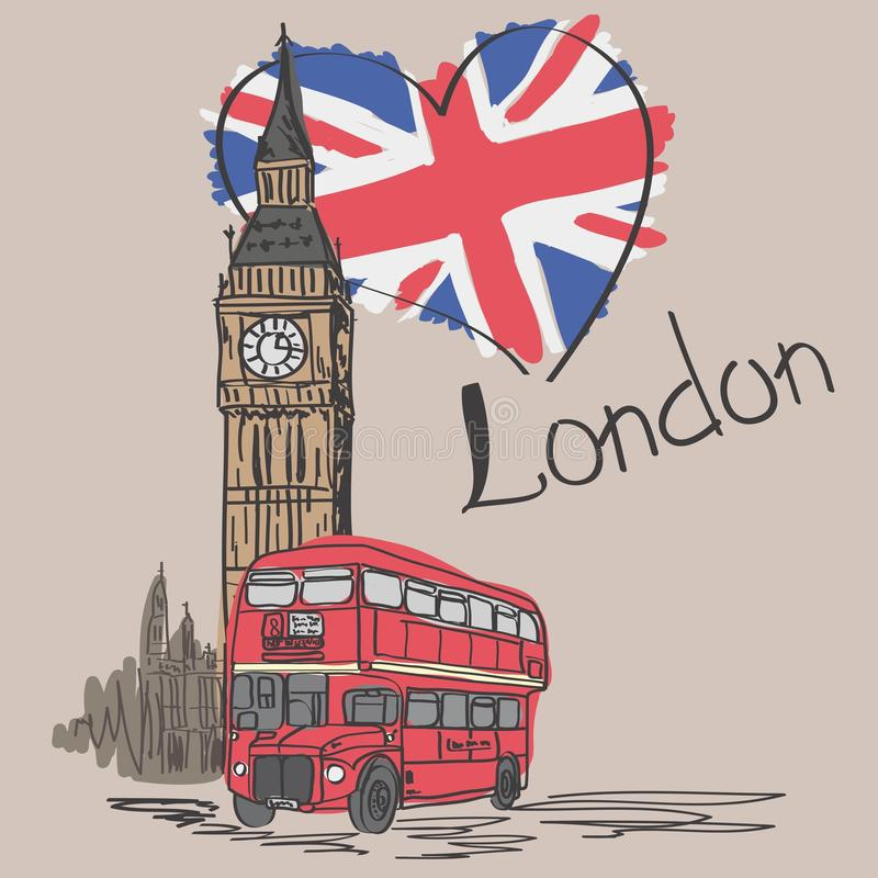 Card `Loved London`. With the image of BigBen, a red double-decker bus and the flag of England. Vector illustration. Card `Loved London`. With the image of Big stock illustration