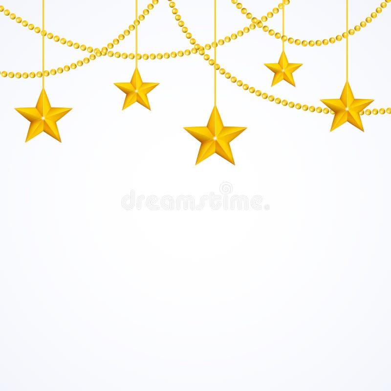 Card mallen med att hänga stjärnor för gul guld, skinande pärlor stock illustrationer