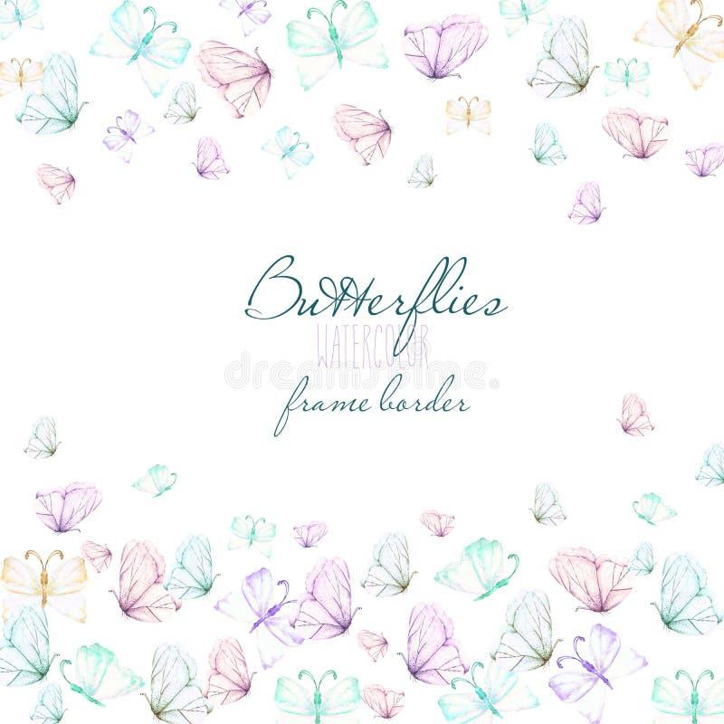 Card mallen, vykortet med vattenfärganbudfjärilar, handen som dras på en vit bakgrund royaltyfri illustrationer