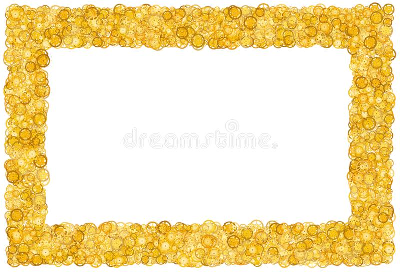 Card with many gears. Gold border. Shimmer. Golden frame of gears. stock photo