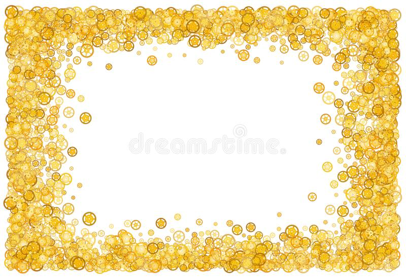Card with many gears. Gold border. Shimmer. Golden frame of gears vector illustration