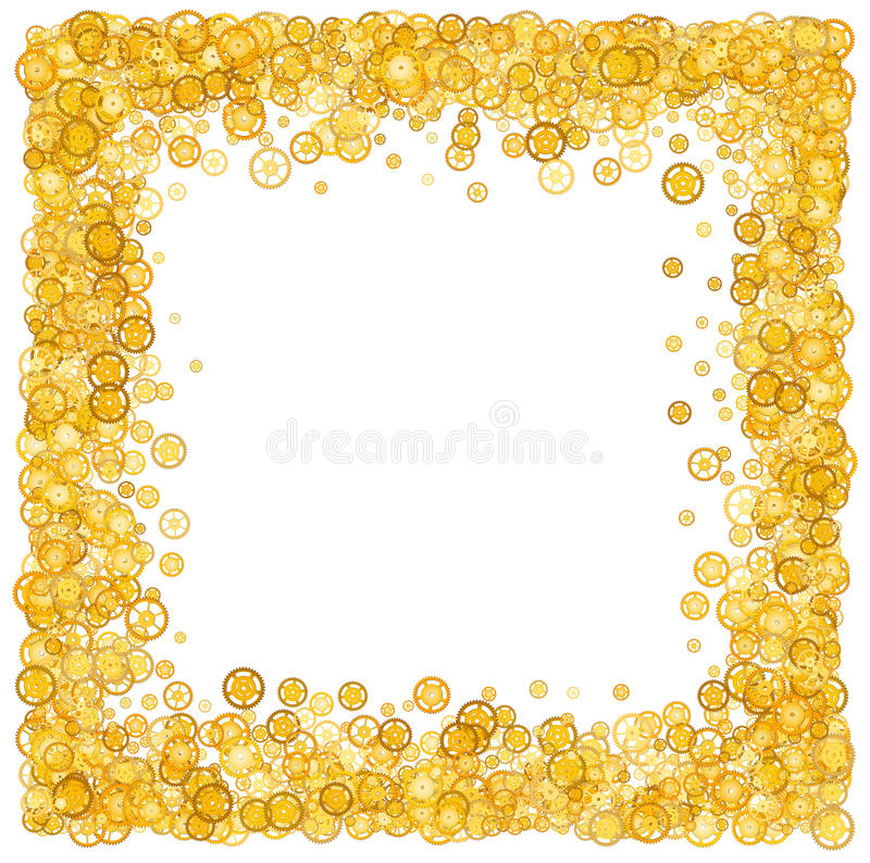 Card with many gears. Gold border. Shimmer. Golden frame of gears. Confetti. Technological frame. Mechanical design. Yellow cogs. royalty free illustration