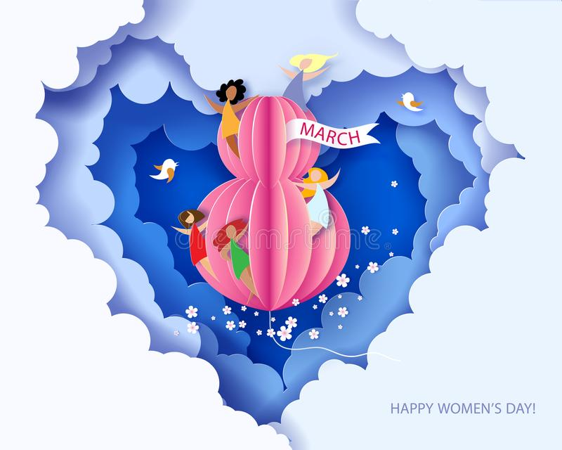 Card for 8 March womens day. stock photo