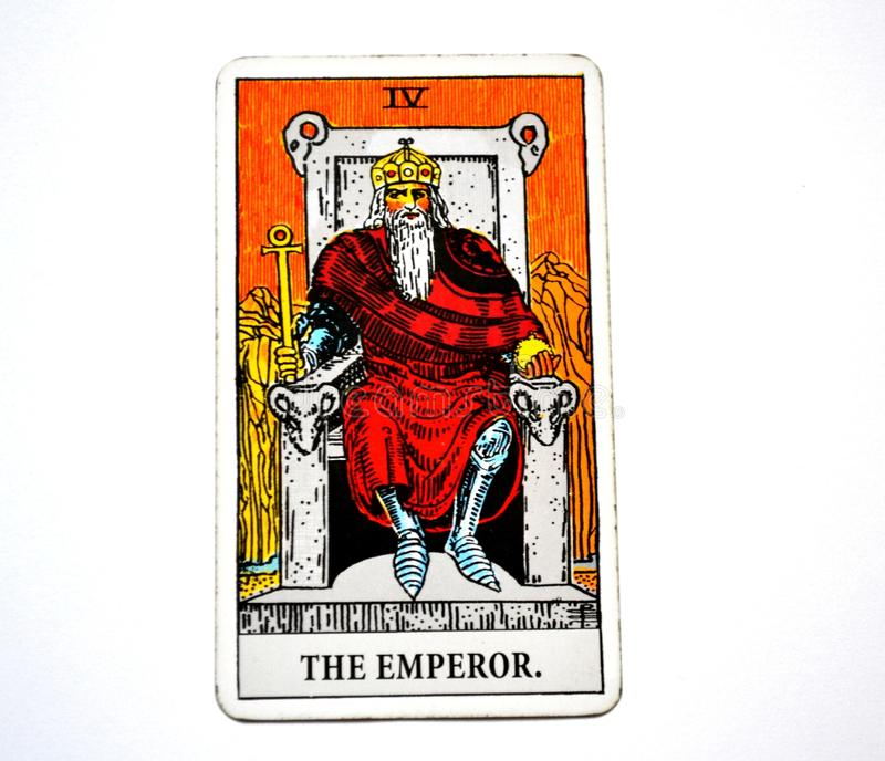 The Emperor Tarot Card Power Leader Ruler King Boss. This card is about Masculinity Head Not Heart Facts Hard Facts Scientific Evidence Severity Rigidity Distant vector illustration