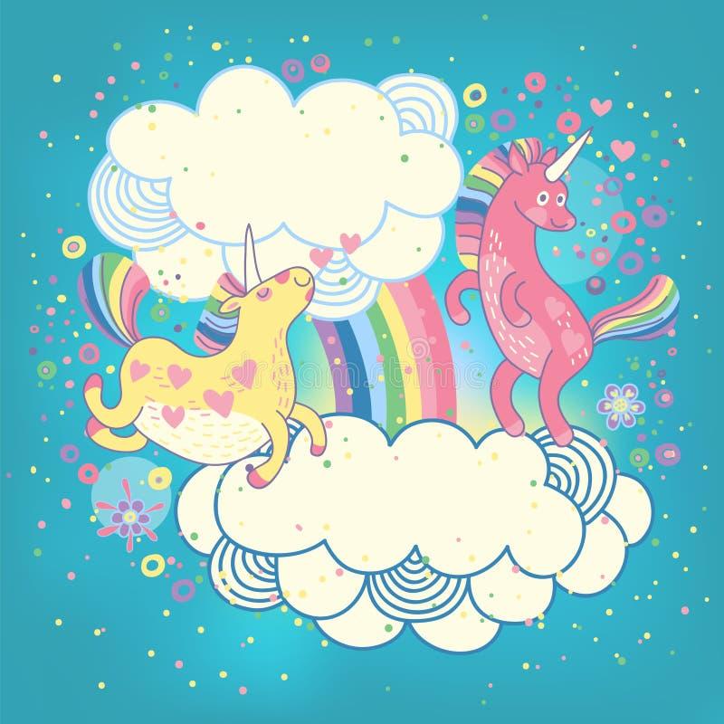 Card med en gullig enhörningregnbåge i molnen. stock illustrationer