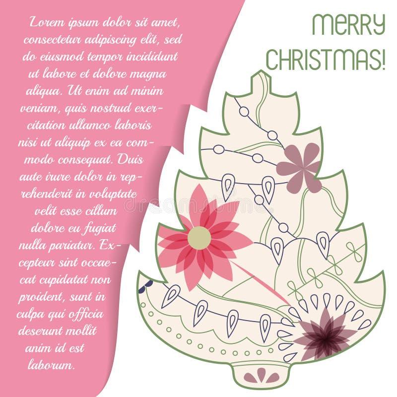 Download Card Med Julträdet På Papper Och Förlägga För Text Vektor Illustrationer - Illustration av silhouette, vektor: 78729323
