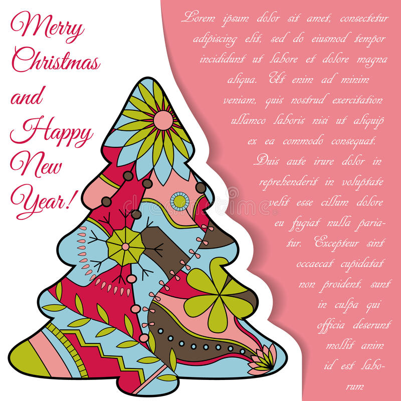 Download Card Med Julträdet På Papper Och Förlägga För Text Vektor Illustrationer - Illustration av satt, beröm: 78729443