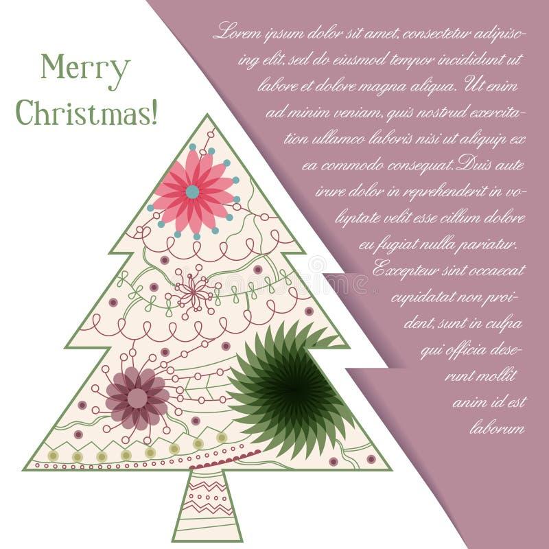 Download Card Med Julträdet På Papper Och Förlägga För Text Vektor Illustrationer - Illustration av målat, dekorativt: 78729707