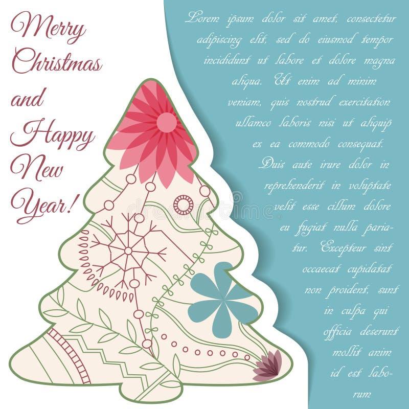 Download Card Med Julträdet På Papper Och Förlägga För Text Vektor Illustrationer - Illustration av dekorativt, xmas: 78729721