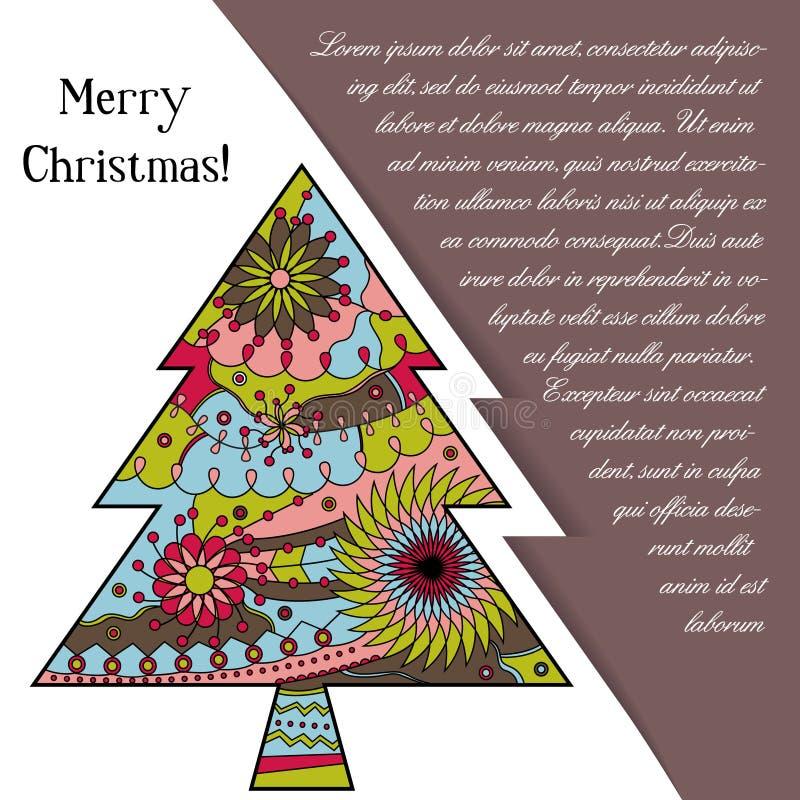 Download Card Med Julträdet På Papper Och Förlägga För Text Vektor Illustrationer - Illustration av design, silhouette: 78731861