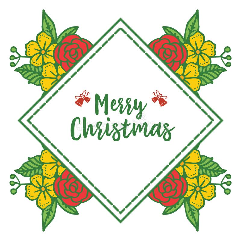 Card merry christmas background, with plant of green leaves and colorful floral frame. Vector stock illustration