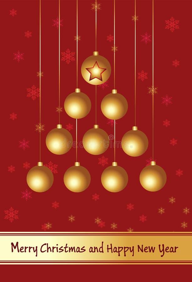 Card.merry Kerstmis en gelukkig nieuw jaar. stock illustratie