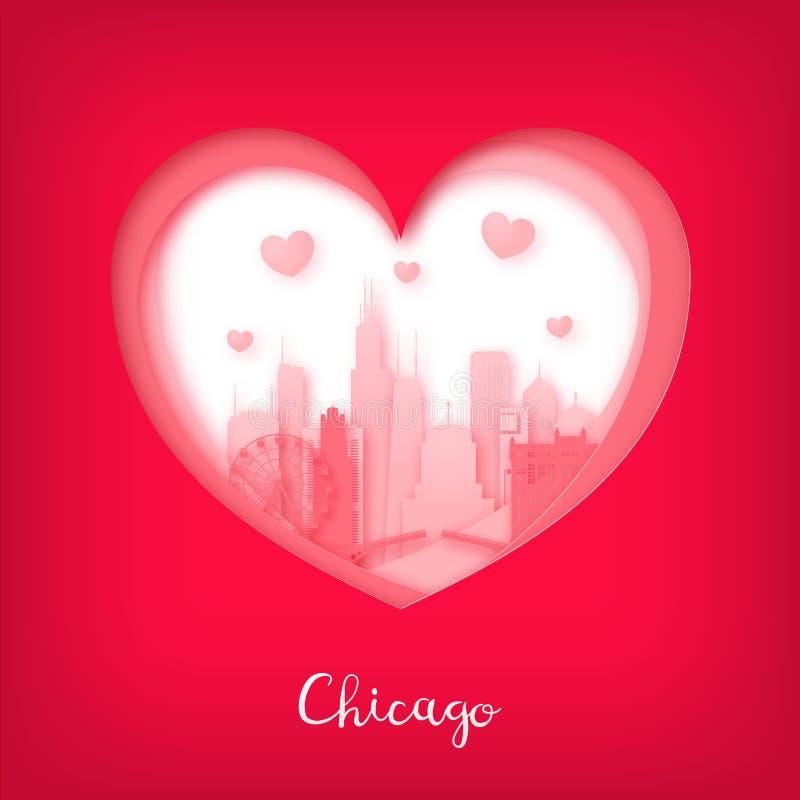 card min portfölj till valentinvälkomnandet Papperssnitthjärta och stad av Chicago stock illustrationer