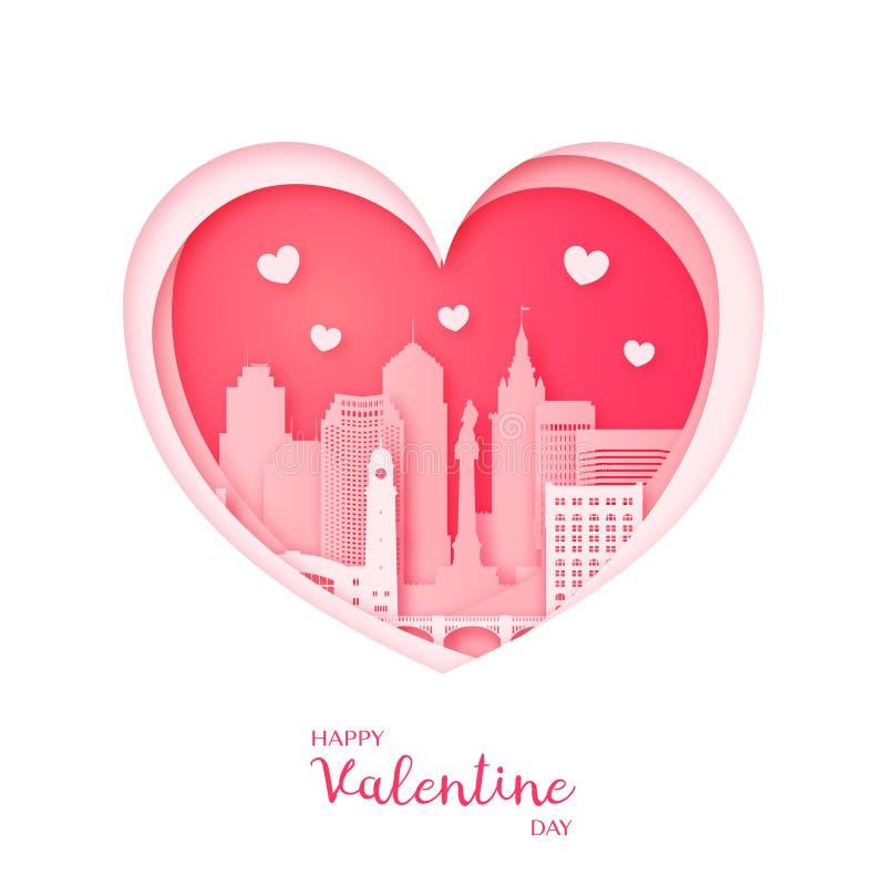 card min portfölj till valentinvälkomnandet Papperssnitthjärta och stad av Cleveland royaltyfri illustrationer