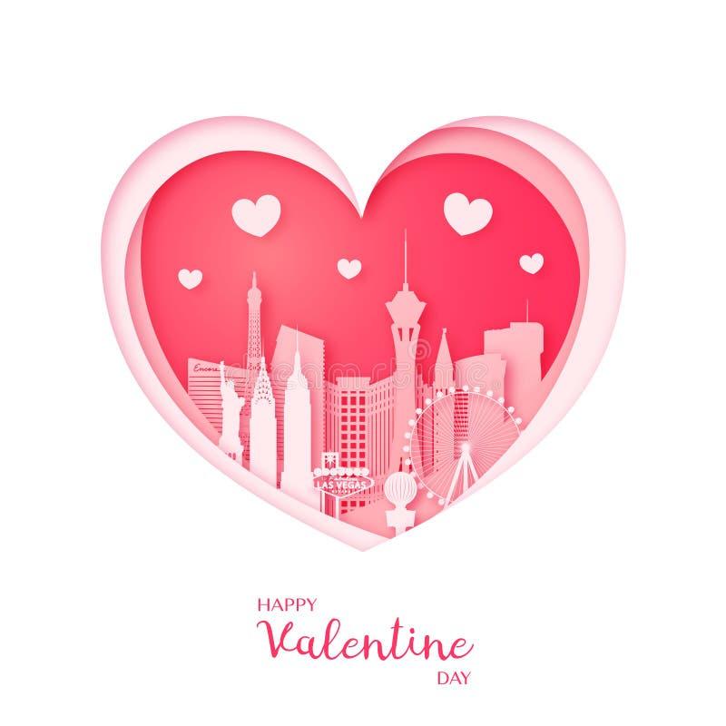 card min portfölj till valentinvälkomnandet Papperssnitthjärta och staden Las Vegas stock illustrationer