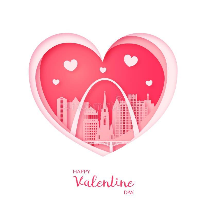 card min portfölj till valentinvälkomnandet Papperssnitthjärta och staden St Louis vektor illustrationer