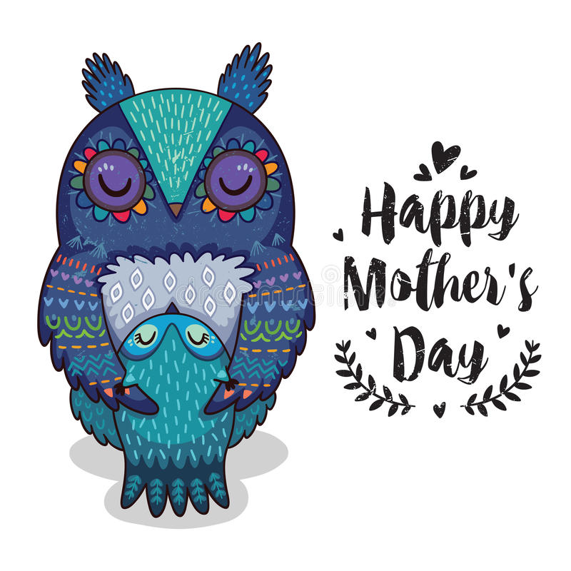 Card for Mothers Day with owls vector illustration