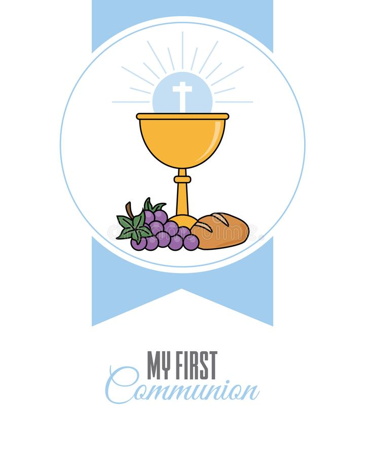 Card my first communion invitation. Chalice with bread and grapes. vector isolated royalty free illustration