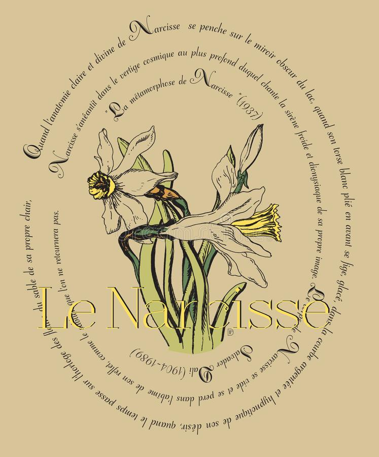 Card with narcissus and poems by Salvador Dali. Beautiful card with narcissus and poems for flowers by Salvador Dali, original drawing and poem of springtime, it vector illustration