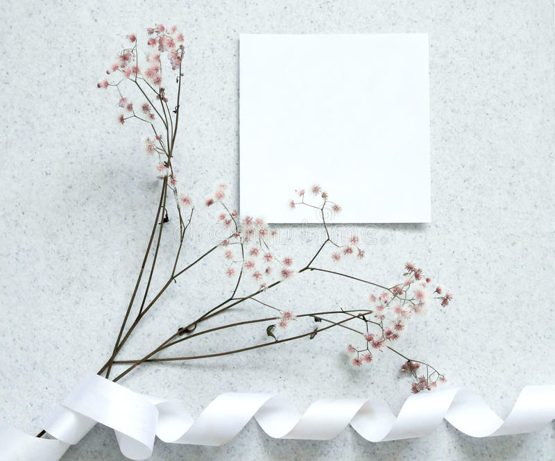 Card note with flower. Creative flat lay design of card note with flower, minimal style stock photo