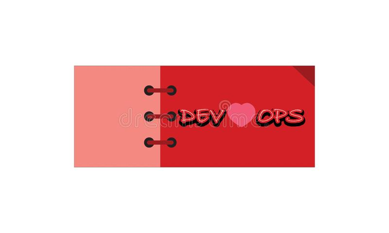 Card note sticker label tag banner vector image with word, Illustration design graphic modern style . DEV LOVE OPS vector illustration