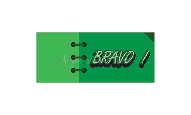 Card note sticker label tag banner vector image with word, Illustration design graphic modern style . Bravo royalty free illustration