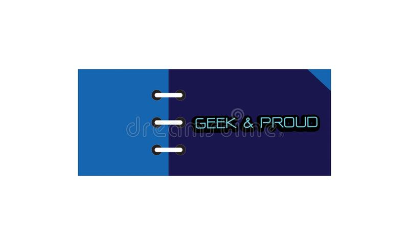 Card note sticker label tag banner vector image with word, Illustration design graphic modern style . Geek & Proud stock illustration
