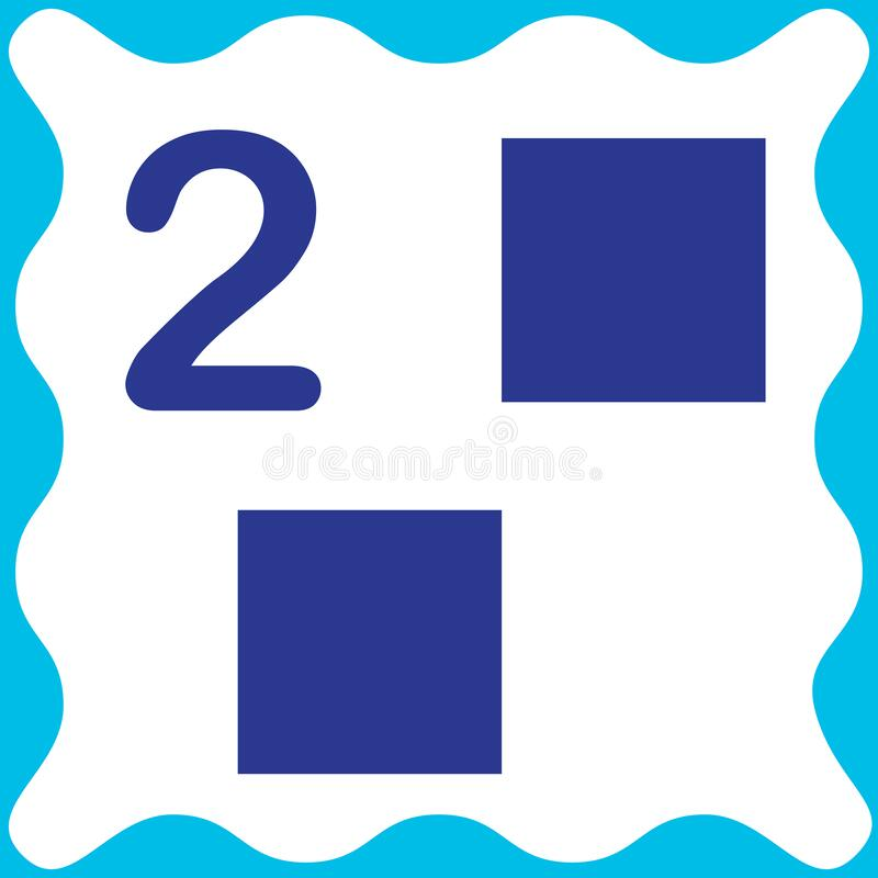 Free Card Number 2 Two And Square. Learning Numbers And Geometric Shapes, Mathematics. Game For Children. Vector Illustration Stock Image - 179503251