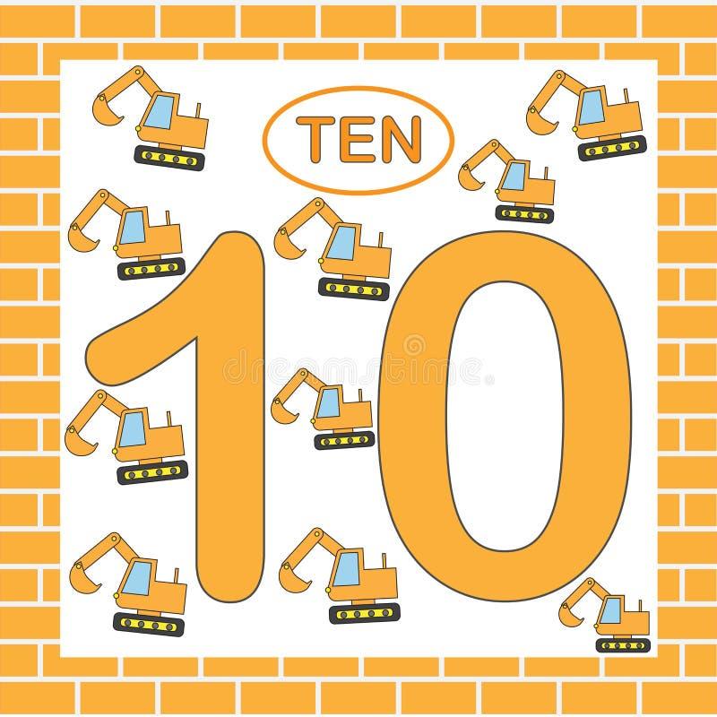 Card number 10 ten with excavators. Mathematics. Education. Vector illustration vector illustration
