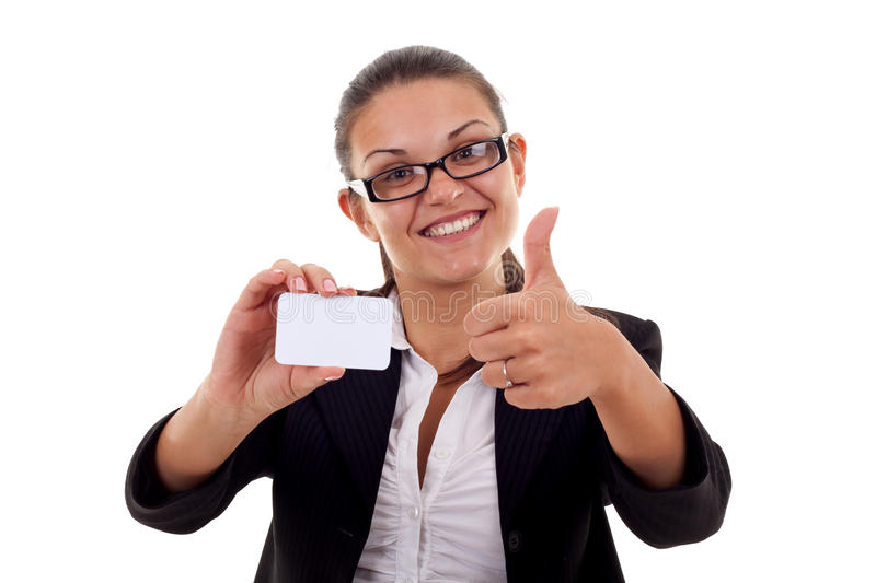 This card is ok. Female holding blank business card, making ok sign royalty free stock photography