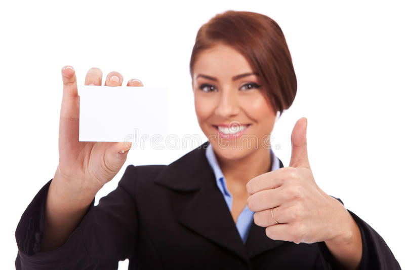 This card is ok!. Business woman holding blank business card, making ok sign , focus on hands and card stock images