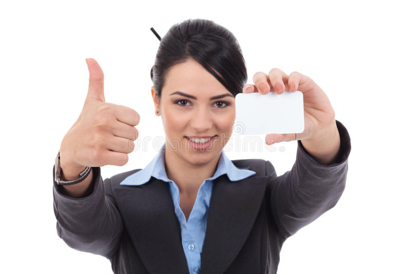 This card is ok. Female holding blank business card, making ok sign , focus on hands and card royalty free stock photo