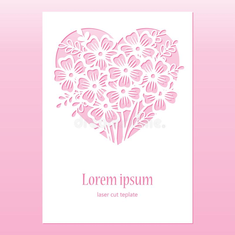 Card with openwork heart with flowers. Laser cutting template. stock illustration